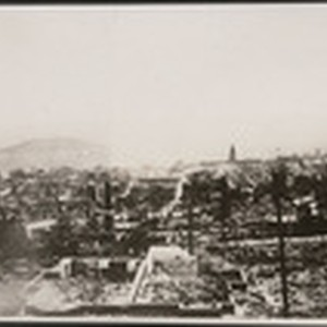 [View of ruins southeast from Russian Hill. Ferry Building in distance, right ...