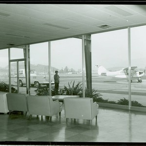 View of an airplane at Brackett Field Airport near Frank G. Bonelli ...