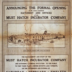 "Advertisement ""Announcing the formal opening for the newly completed hatchery and offices ..."