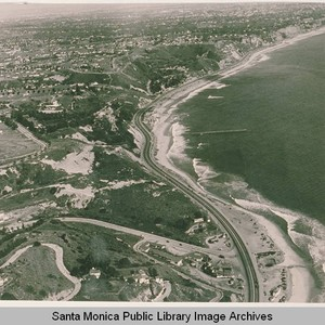 Aerial view of the coastline, Pacific Coast Highway, Santa Ynez Canyon and ...
