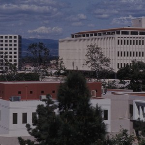 View of campus buildings, ca. 1990