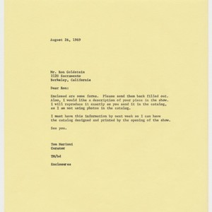 Letter to Ron Goldstein from Tom Marioni (The Return of Abstract Expressionism)