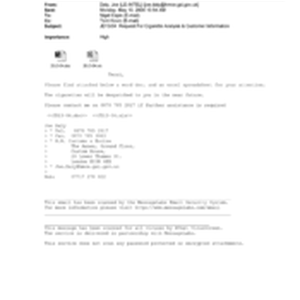 [Email from Joe Daly to Nigel Espin regarding JD13/04 request for cigarette ...
