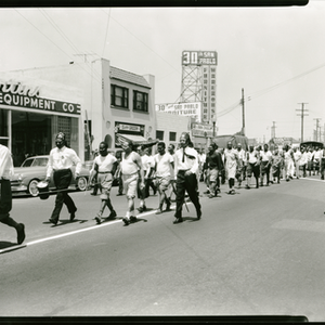 Masons marching in parade at 30th and San Pablo street, Emeryville, California