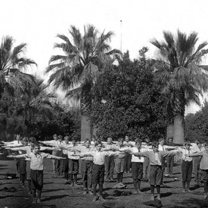 Boys exercising at the Chico Normal Training School
