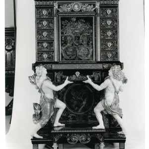 French cabinet on display in the Getty Museum, late 1990s