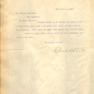Letter from Clark Alberti to Walter Lindley