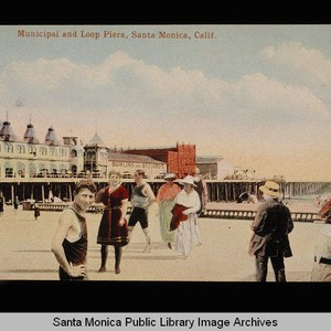 Santa Monica Municipal Pier, Loof Pier, merry-go-round, bowling and billiards pavilion, and ...