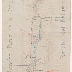 [Map of old and new fences along Cojo Creek between Rancho Punta ...