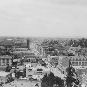 Looking south on Broadway from Court house, Los Angeles, ca.1900