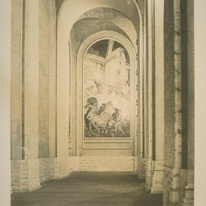 "[H354? ""The Windmill,"" panel of mural ""Air"" (Frank Brangwyn, painter), colonnade, Court ..."
