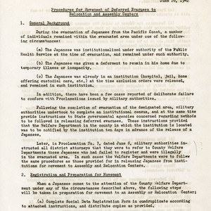 """Procedures for Movement of Deferred Evacuees to Relocation and Assembly Centers"""