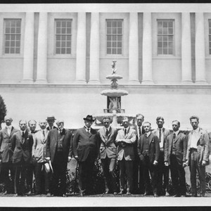 Henry E. Huntington and library staff in front of the library building, ...