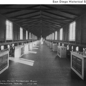 Operating tables at the Lower Otay Dam water filtration plant