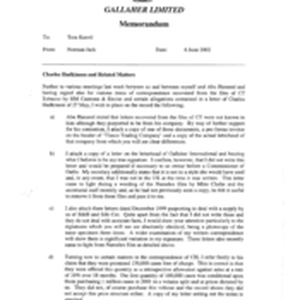Gallaher Limited[Memo from Norman Jack to Tom Keevil regarding Charles Hadkinson and ...