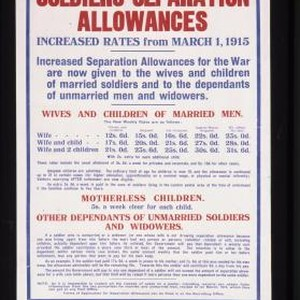Soldiers' separation allowances increase rates from March 1, 1915. Increased separation allowances ...