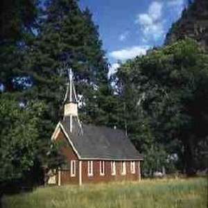 Slides of California Historical Sites. Old Chapel, Yosemite Valley, Calif