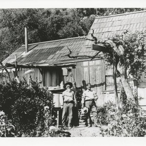 Francisco Trujillo with a hired hand on Trujillo Ranch, Topanga, California