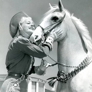 Publicity photo of June Havoc with horse for Malibu Remuda, 1947