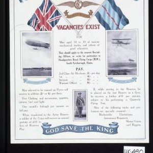 Royal Flying Corps. Military Wing. Vacancies exist for men aged 18 to ...