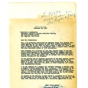Letter from Lawrence F. Lamar to Frederick C. Dockweiler, February 19, 1952