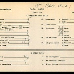 WPA Low income housing area survey data card 5, serial 16768