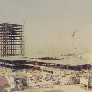 Photograph of the construction of the Library and Administration buildings