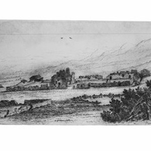 Drawing by Henry Chapman Ford depicting the ruins of the Mission La ...