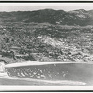 [Aerial view of Santa Barbara, from west harbor looking north]
