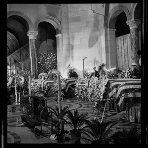 Interior view of funeral for World War II servicemen, downtown Los Angeles