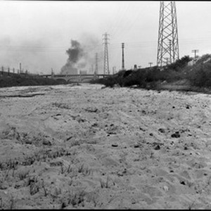 View of the bed of the Los Angeles River near Seventh Street, ...