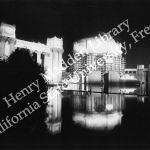 Palace of Fine Arts under construction at night