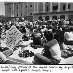Several hundred pepople gather at the California State Capitol to protest university ...