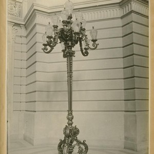 Light standards, rotunda--City Hall. (4 in all.) Brass and bronze. 1500 [dollars?] ...
