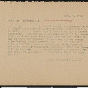 Hamlin Garland, letter, 1914-10-03, to Charles L. Hutchinson