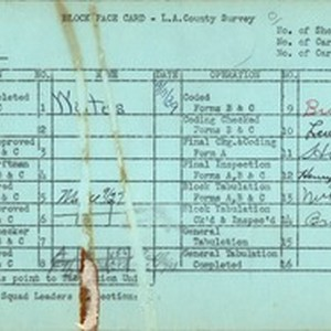 WPA block face card for household census (block 1882) in Los Angeles ...