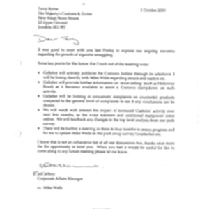 [ A letter from Jeff Jeffery to Terry Byrne regarding the growth ...