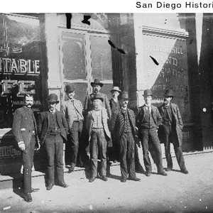 Employees of the Equitable Life Insurance Company standing outside their office at ...