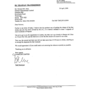 [Letter from Fadi Nammour to Norman BS Jack regarding certificate of Deposit]