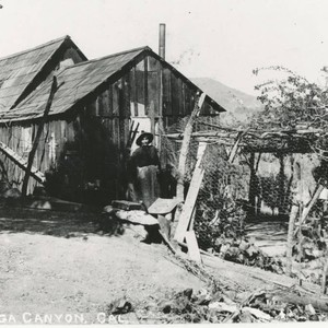 Maneula Trujillo in front of the old ranch house, Topanga, California
