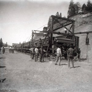 Laying rails for the Western Pacific Railroad at Quincy Junction