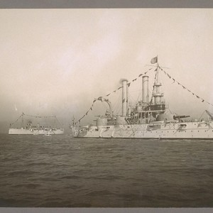 [Philadelphia and unidentified U.S. Navy war ship.]
