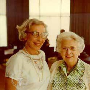 Mildred Goldberger and Mabel Beckman in Millikan Board Room