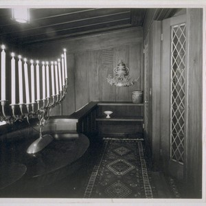 Goslinski house, San Francisco: [interior, detail of candelabra on balcony]