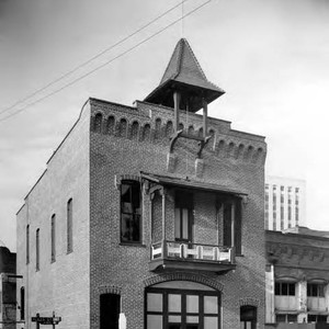 Exterior shot of the Firehouse on the corner of Los Angeles Street ...