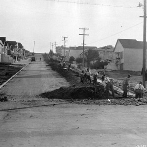 [Men working along Granada street near Grafton avenue]
