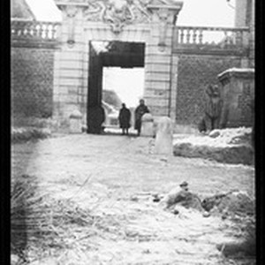 View of soldiers standing near a gateway in France during World War ...
