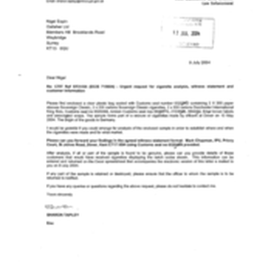 [Letter from Sharon Tapley to Nigel Espin regarding urgent request for cigarette ...