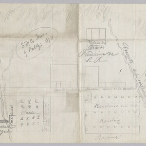 Hand drawn map from Mariano Guadalupe Vallejo that shows the location where ...