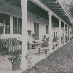 Porch of the main house at Will Rogers State Park, Rustic Canyon, ...